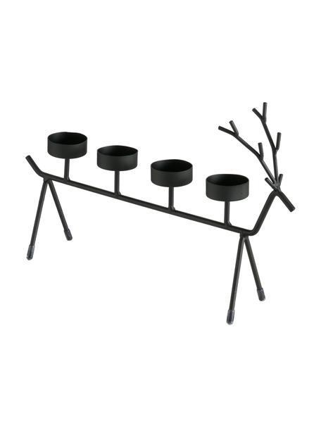 Waxinelichthouder Eugen, Gecoat metaal, Zwart, 35 x 21 cm