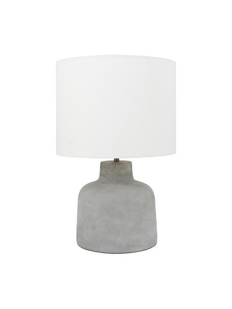 Tafellamp Ike met betonnen voet, Lampenkap: 100% linnen, Lampvoet: beton, Betonkleurig, wit, Ø 30 x H 45 cm