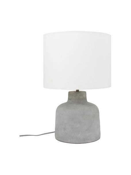 Lámpara de mesa de cemento Ike, estilo moderno, Pantalla: 100%lino, Gris cemento, blanco, Ø 30 x Al 45 cm