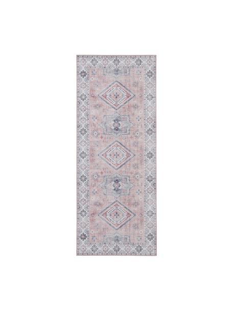 Chodnik w stylu vintage Gratia, 100% poliester, Brudny różowy, szary, S 80 x D 200 cm