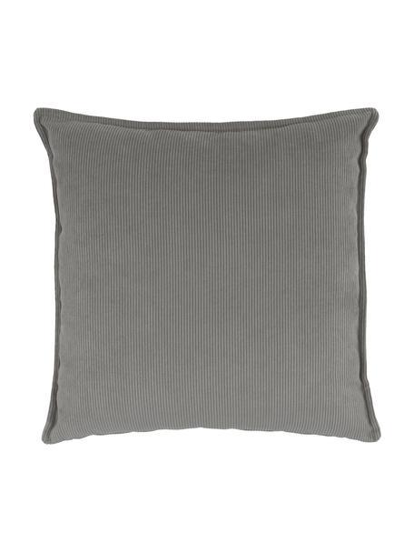 Bankkussen Lennon in grijs van corduroy, Grijs, 60 x 60 cm