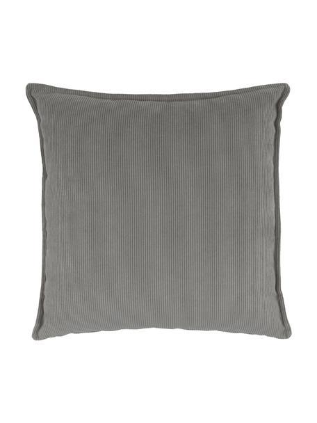 Sofa-Kissen Lennon in Grau aus Cord, Bezug: Cord (92% Polyester, 8% P, Cord Grau, 60 x 60 cm