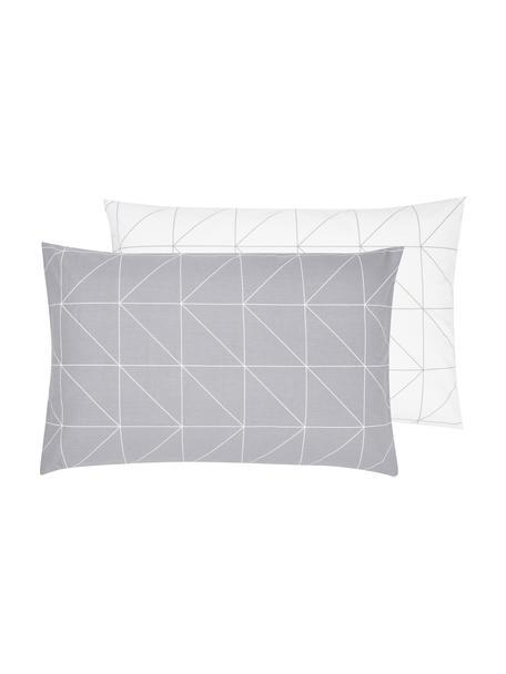 Baumwoll-Wendekissenbezug Marla mit grafischem Muster, 65 x 100 cm, Webart: Renforcé Fadendichte 144 , Grau, Weiss, 65 x 100 cm