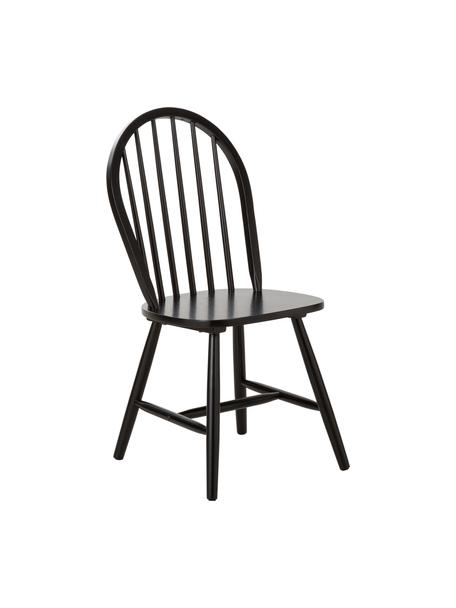 Houten Windsor stoelen Megan, 2 stuks, Gelakt rubberhout, Zwart, B 46 x D 51 cm