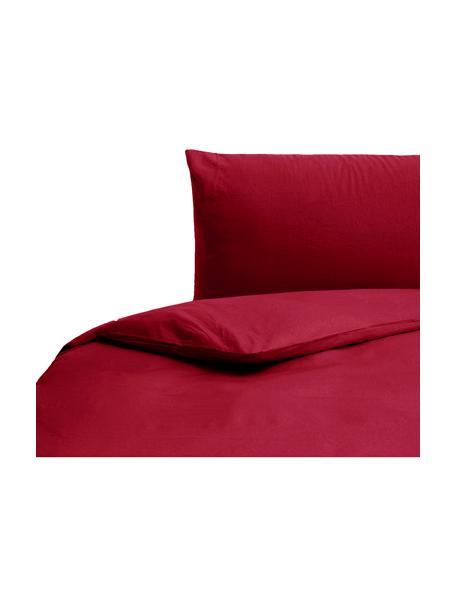 Parure copripiumino in cotone effetto stone washed Velle, Tessuto: cotone ranforce, Fronte e retro: rosso rubino, 155 x 200 cm