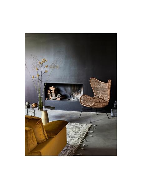 Samt-Sofa Retro (2-Sitzer) in Gelb mit Metall-Füssen, Bezug: Polyestersamt 86.000 Sche, Korpus: Mitteldichte Holzfaserpla, Samt Ocker, B 175 x T 83 cm