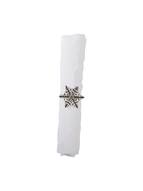 Schneeflocken-Serviettenringe Snowflake in Silber, 4 Stück, Metall, Silberfarben, Ø 5 x H 4 cm