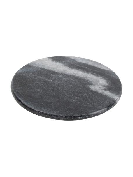 Marmor-Untersetzer Aster in Schwarz, 4 Stück, Marmor, Schwarz, marmoriert, Ø 10 x H 1 cm