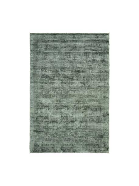 Handgeweven viscose vloerkleed Jane in groen, Bovenzijde: 100% viscose, Onderzijde: 100% katoen, Groen, B 200 x L 300 cm (maat L)