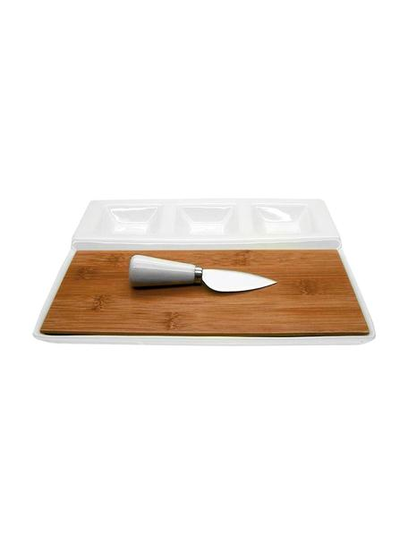 Set tabla de queso Alfons, 2pzas., Cuencos: porcelana, Blanco, beige, Set de diferentes tamaños
