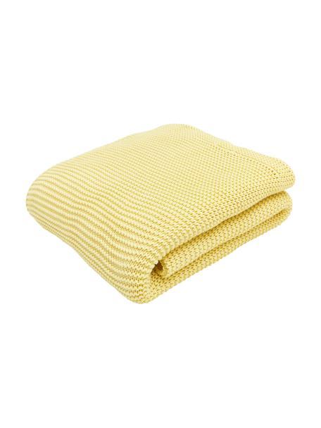 Coperta a maglia in cotone biologico giallo chiaro Adalyn, 100% cotone biologico, certificato GOTS, Giallo chiaro, Larg. 150 x Lung. 200 cm