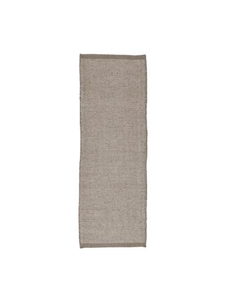 Handgeweven wollen loper Asko, Bovenzijde: 90% wol, 10% katoen, Onderzijde: katoen, Lichtgrijs, grijs, 80 x 250 cm
