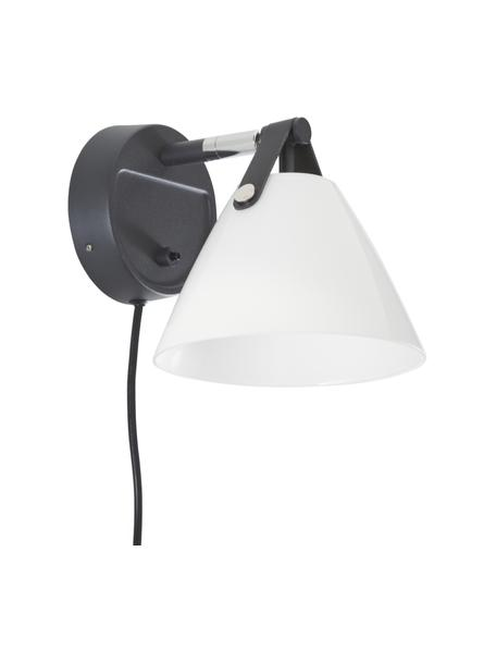 Wandlamp Strap met verwisselbare leren band en stekker, Lampenkap: glas, Decoratie: runderleer, Frame: chroom, Zwart, 17 x 17 cm