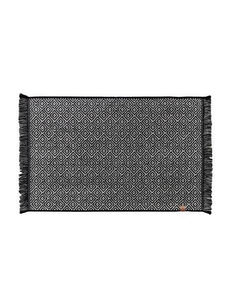 Badmat Marocco in zwart/wit met grafisch patroon, Katoen, Zwart, wit, 50 x 80 cm