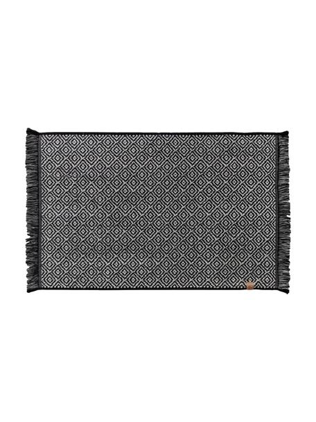 Tappeto bagno nero/bianco con motivo grafico Marocco, Cotone, Nero, bianco, Larg. 50 x Lung. 80 cm