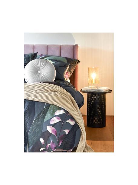 Baumwollsatin-Kopfkissenbezüge Flora in Dunkelgrau, 2 Stück, Webart: Satin Fadendichte 210 TC,, Vorderseite: MehrfarbigRückseite: Dunkelgrau, 40 x 80 cm