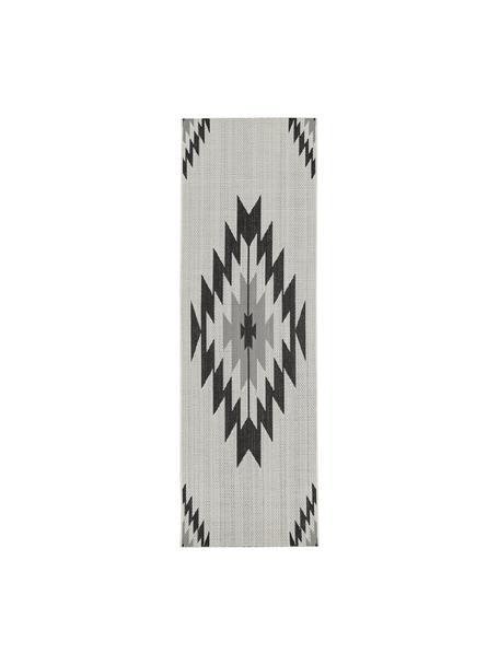 In- & outdoor loper Ikat met ethno patroon, 86% polypropyleen, 14% polyester, Crèmewit, zwart, grijs, 80 x 250 cm