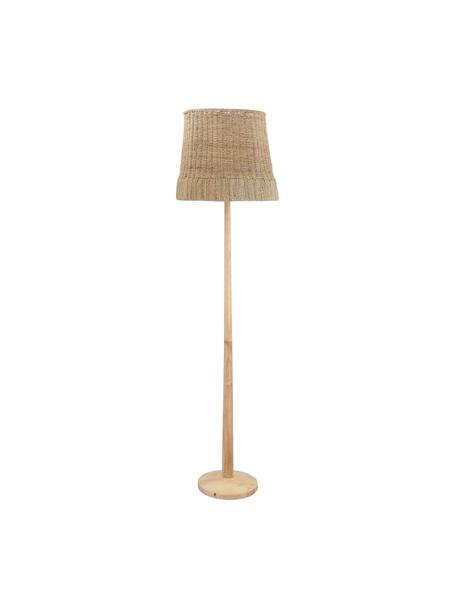 Boho-vloerlamp Ratto van hout, Lampenkap: rotan, Lampvoet: rubberhout, Rotan, hout, Ø 40 x H 160 cm