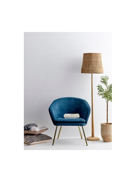 Lámpara de pie de madera Ratto, estilo boho, Pantalla: ratán, Cable: cubierto en tela, Ratán, madera, Ø 40 x Al 160 cm