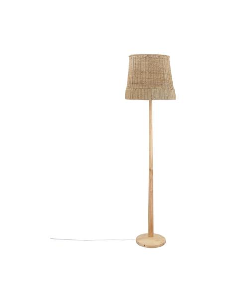 Boho-Stehlampe Ratto aus Holz, Lampenschirm: Rattan, Lampenfuß: Gummibaumholz, Rattan, Holz, Ø 40 x H 160 cm