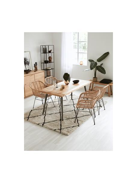 Flauschiger Hochflor-Teppich Naima, handgetuftet, Flor: 100% Polyester, Beige, Schwarz, B 160 x L 230 cm (Größe M)