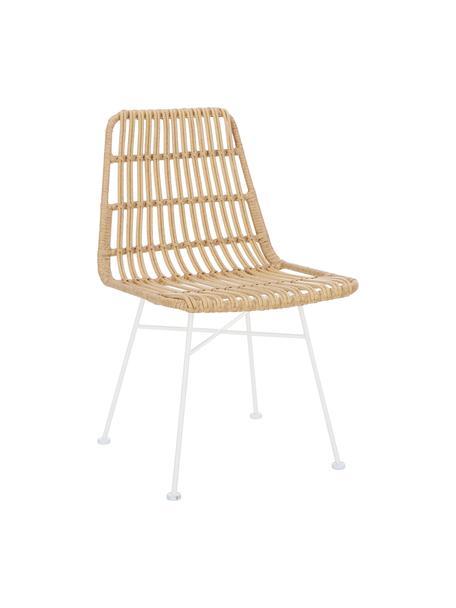 Sillas de poliratán Costa, 2uds., Asiento: polietileno, Estructura: metal con pintura en polv, Beige, patas blanco, An 47 x F 61 cm