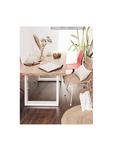 Krzesło z polirattanu Tulum, 2 szt., Stelaż: metal malowany proszkowo, Jasny brązowy, nogi: biały, S 47 x G 61 cm