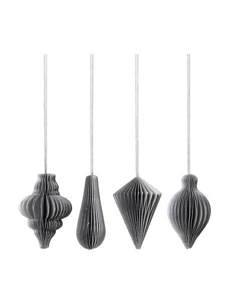Baumanhänger-Set Winnie H 7 cm, 4 Stück, Grau, Silberfarben, Ø 5 x H 7 cm