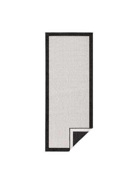 Passatoia reversibile da interno-esterno Panama, Nero, color crema, Larg. 80 x Lung. 250 cm