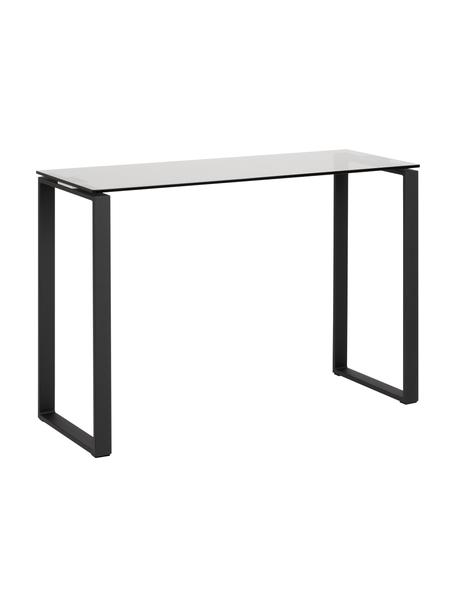Consola de vidrio Katrine, Estructura: metal recubierto, Estante: vidrio, Negro, An 110 x F 40 cm
