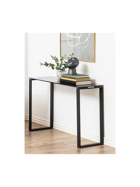 Consolle in vetro con struttura nera Katrine, Struttura: metallo rivestito, Piano d'appoggio: vetro, Nero, Larg. 110 x Prof. 40 cm