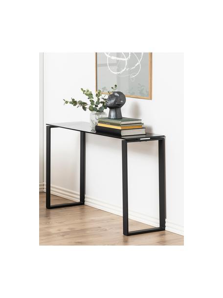 Glas-Konsole Katrine mit schwarzem Gestell, Gestell: Metall, beschichtet, Ablagefläche: Glas, Schwarz, B 110 x T 40 cm