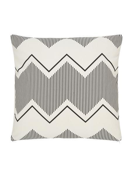 Federa arredo boho color bianco crema/nero Indy, 100% cotone, Bianco, nero, Larg. 45 x Lung. 45 cm