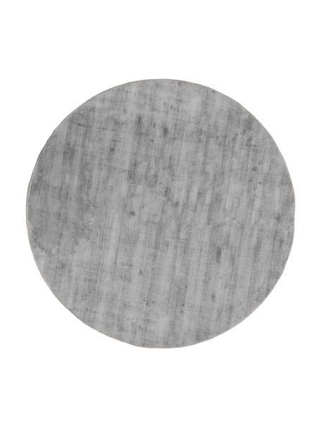 Runder Viskoseteppich Jane in Grau, handgewebt, Flor: 100% Viskose, Grau, Ø 115 cm (Größe XS)
