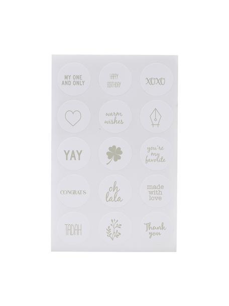 Stickerset Mixa, 90-delig, Papier, Wit, saliegroen, 10 x 15 cm