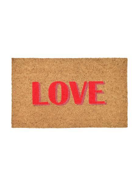 Fußmatte Love, Oberseite: Kokosfaser, Unterseite: Vinyl, Beige, Rot, 45 x 75 cm