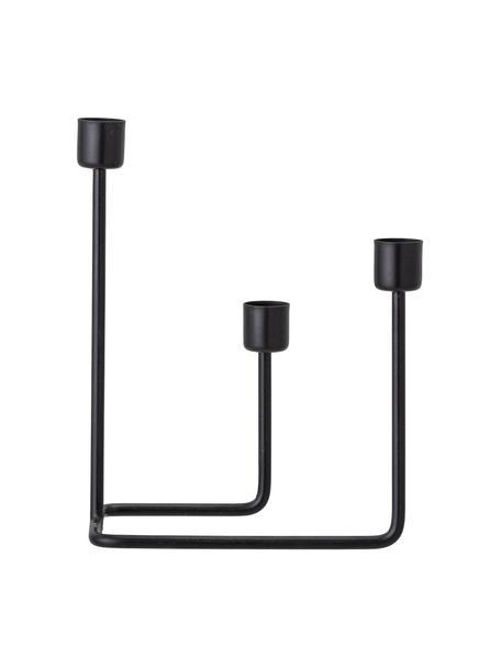 Metall-Kerzenhalter Haf, Metall, Schwarz, 22 x 10 cm
