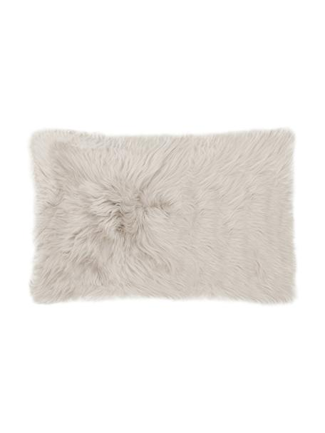 Federa arredo liscia in pelle di pecora beige Oslo, Retro: lino, Beige, Larg. 30 x Lung. 50 cm