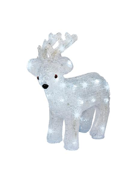 Batterij-aangedreven LED lichtobject Deer, Kunststof, Wit, zwart, 30 x 31 cm