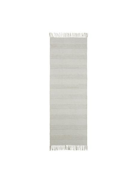 Passatoia in cotone a righe  tono su tono con frange Tanya, 100% cotone, Grigio chiaro, Larg. 70 x Lung. 200 cm