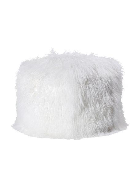 Puf de piel de cordero Cube, Tapizado: piel de cordero tibetano, Interior: poliéster (Charmeuse), Blanco, An 60 x Al 40 cm