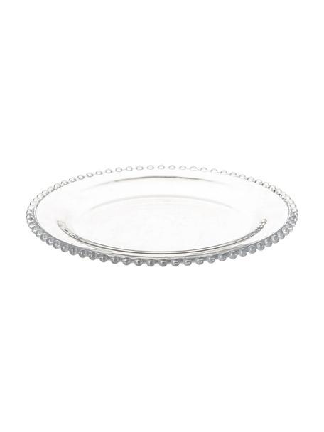 Dessertborden Perles, 2 stuks, Glas, Transparant, Ø 21 cm