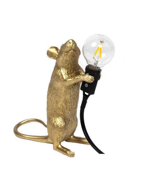 Kleine design tafellamp Mouse, Lamp: kunsthars, Goudkleurig, 6 x 15 cm