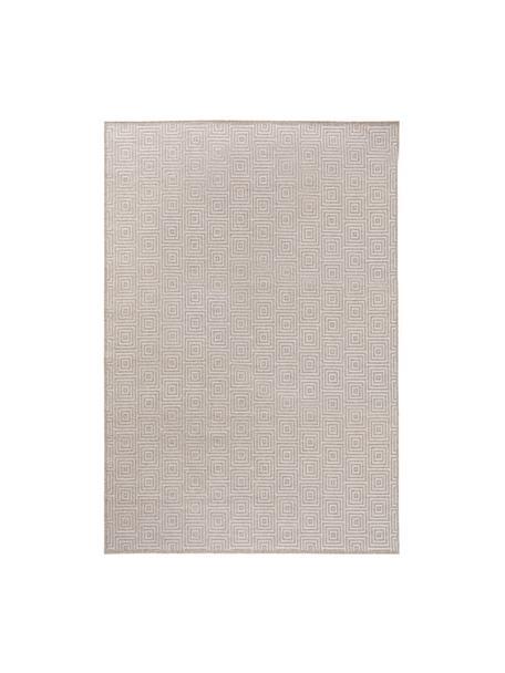 Wollen vloerkleed Jacob met grafisch patroon in beige/lichtgrijs, 70% wol, 30% viscose, Lichtgrijs, beige, B 120 x L 170 cm (maat S)