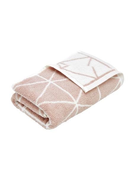 Asciugamano reversibile con motivo grafico Elina, 100% cotone, qualità media 550g/m², Rosa, bianco crema, Asciugamano per ospiti