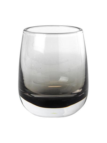 Mundgeblasene Schnapsgläser Smoke mit grauem Farbverlauf, 6 Stück, Glas, Grau, Ø 5 x H 6 cm