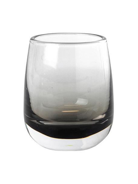 Vasos de chupito de vidrio soplado artesanalmente Smoke, 6uds., Vidrio, Gris, Ø 5 x Al 6 cm