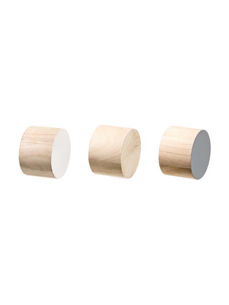 Wandhakenset Mandi van hout, 3-delig, Paulowniahout, Bruin, wit, grijs, Ø 7 x D 5 cm