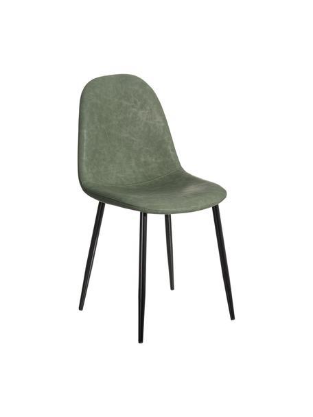 Krzesło tapicerowane ze sztucznej skóry Gina, Tapicerka: sztuczna skóra (poliureta, Nogi: metal, Zielony, czarny, S 44 x G 44 cm
