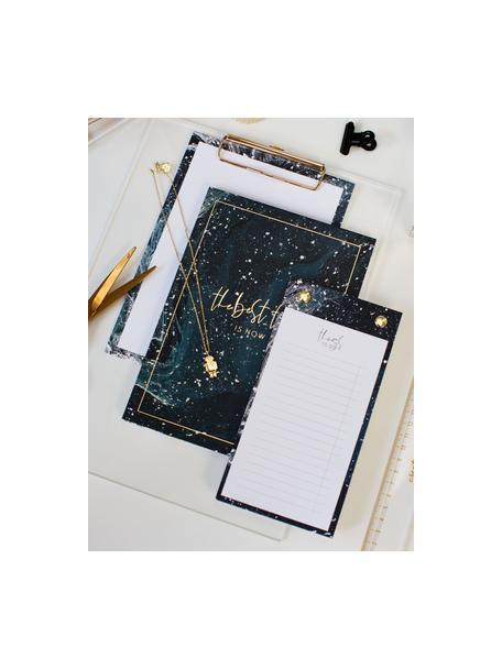 Kołonotatnik To-Do, Ciemny niebieski, odcienie złotego, biały, S 10 x W 19 cm